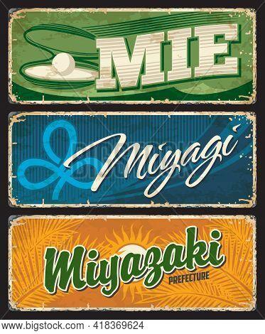 Mie, Miyagi And Miyazaki Japan Prefecture Tin Vector Plates. Japanese Region Old Plates With Vintage