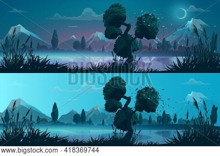 Night And Day Lake Or River Shore Panorama Landscape. Cartoon Vector Background With Wind Blows Leav