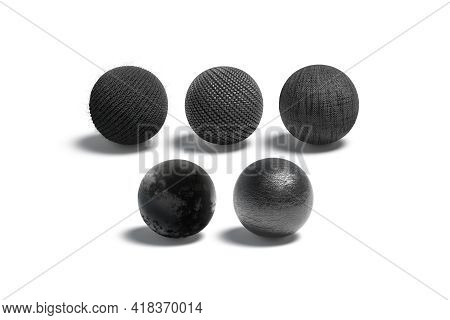 Blank Black Wicker, Knitted, Canvas, Velvet And Leather Ball Mockup, 3d Rendering. Empty Wool, Derma