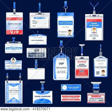 Identification Id Badges And Cards Vector Design Of Holders With Neck Lanyard And Retractable Reel C