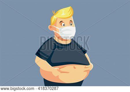 Man Gaining Weight During Pandemic Quarantine Vector Illustration