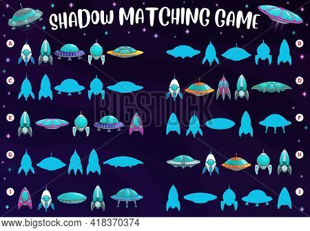 Shadow Match Kids Game With Rockets And Spaceships, Find And Match Vector Boardgame. Kids Cartoon Bo