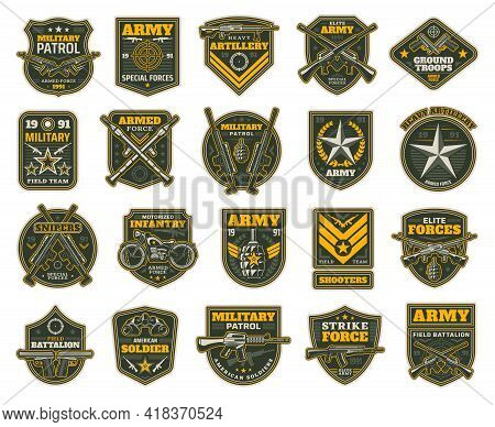 Military And Army Patches Or Icons, Vector Chevrons For Sniper, Shooter, Motorized Infantry And Elit