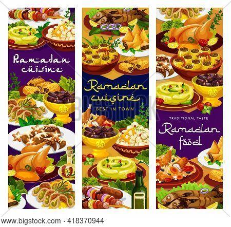 Ramadan Food, Iftar Islam Cuisines Menu Meals For Eid Mubarak, Vector Restaurant Dishes. Ramadan Kar