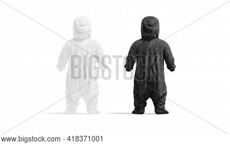 Blank Black And White Kid Plush Jumpsuit With Hood Mockup, 3d Rendering. Empty Childhood Cloth Pajam