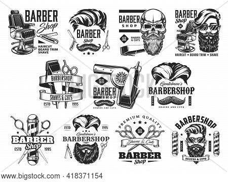 Barbershop Vector Icons With Beard And Hair Barber Shop Pole, Hipster Man Skull, Razor Or Shave Blad