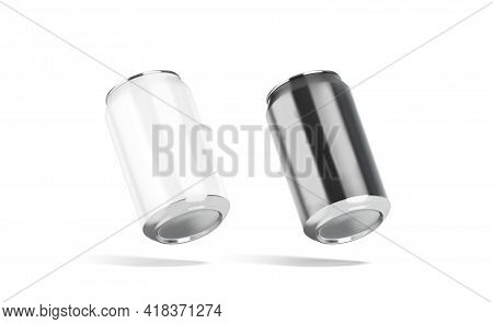 Blank Black And White Aluminum 330 Ml Soda Can Mockup, Isolated, 3d Rendering. Empty Aerated Soft Be