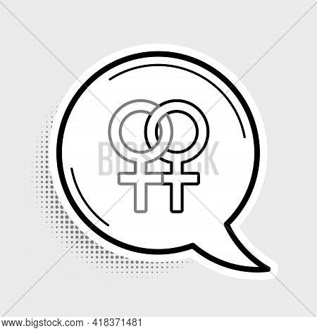 Line Female Gender Symbol Icon Isolated On Grey Background. Venus Symbol. The Symbol For A Female Or