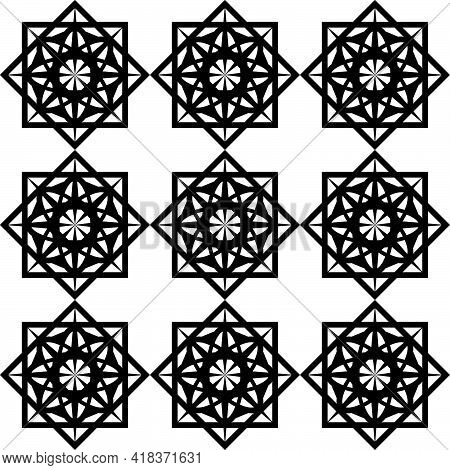 Seamless Black Pattern Of Symmetrical Abstract Shapes In The Form Of A Stencil Mesh For Printing On