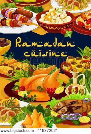 Ramadan Food, Iftar And Eid Mubarak Islam Cuisine Meals, Vector Biryani And Dinner Sweet Desserts. R