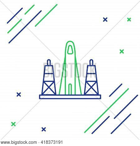 Line Rocket Launch From The Spaceport Icon Isolated On White Background. Launch Rocket In Space. Col