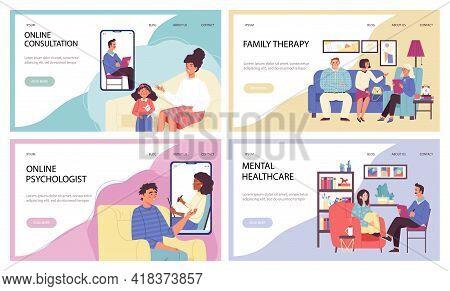 Set Of Websites For Psychotherapist Consultations Flat Vector Illustration.