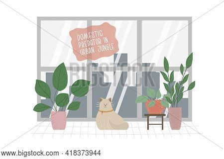Cat And Home Plants, Window With Nice View To Big City. Calm Atmosphere With Domestic Predator.