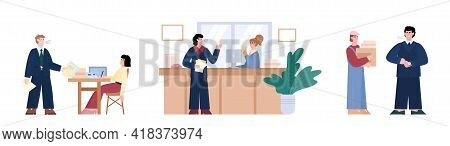 Set With Angry Aggressive Boss And Employees, Flat Vector Illustration Isolated.