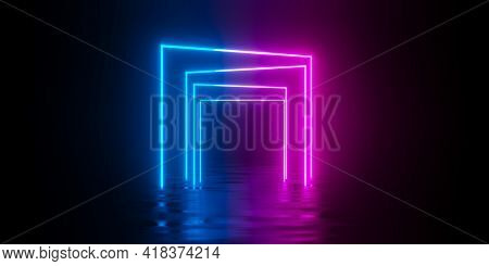 Multiple Modern Futuristic Abstract Blue, Red And Pink Neon Glowing Light Squares Gates Or Frames Ro