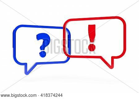 Two Blue And Red Speech Bubbles Or Balloons With Question Mark And Exclamation Mark Over White Backg