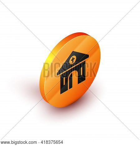Isometric Church Building Icon Isolated On White Background. Christian Church. Religion Of Church. O