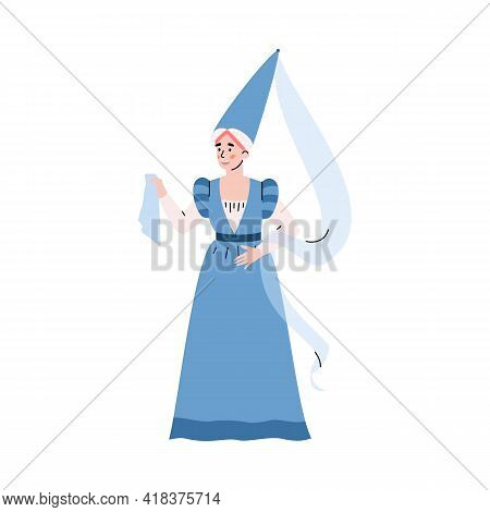 Medieval Woman In Ancient Historical Traditional Costume A Vector Illustration