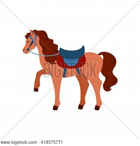 Harnessed Horse Cartoon Character With Saddle Flat Vector Illustration Isolated.