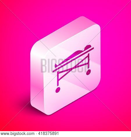 Isometric Dead Body In The Morgue Icon Isolated On Pink Background. Silver Square Button. Vector