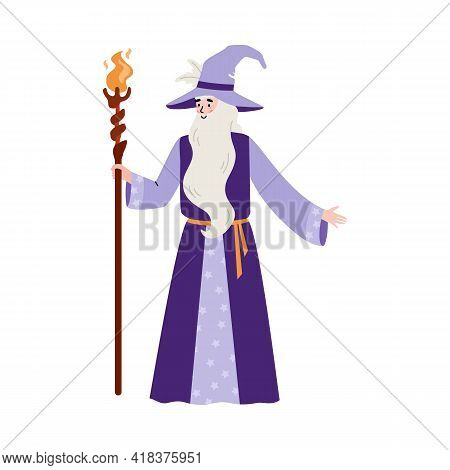 Wise Wizard With Beard Hold Magic Staff With Fire A Flat Vector Illustration.