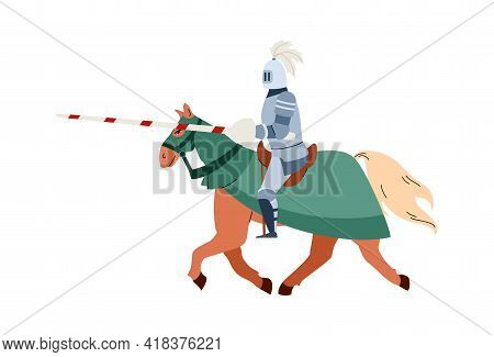 Medieval Knight With Lance Riding On Horse, Flat Vector Illustration Isolated.