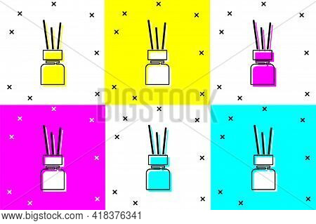 Set Aroma Diffuser Icon Isolated On Color Background. Glass Jar Different With Wooden Aroma Sticks.