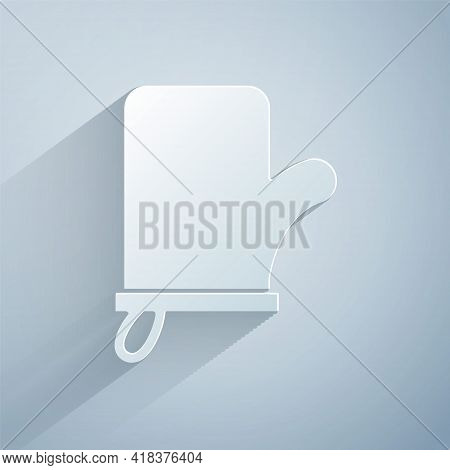 Paper Cut Sauna Mittens Icon Isolated On Grey Background. Mitten For Spa. Paper Art Style. Vector