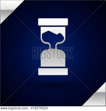Silver Old Hourglass With Flowing Sand Icon Isolated On Dark Blue Background. Sand Clock Sign. Busin