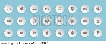 Entertainment Vector Icons On Round Puffy Paper Circles With Transparent Shadows On Blue Background.