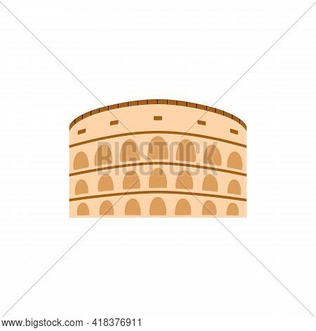 Antique Colosseum Or Coliseum Theater, Flat Vector Illustration Isolated.
