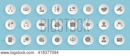 Headhunting Vector Icons On Round Puffy Paper Circles With Transparent Shadows On Blue Background. H
