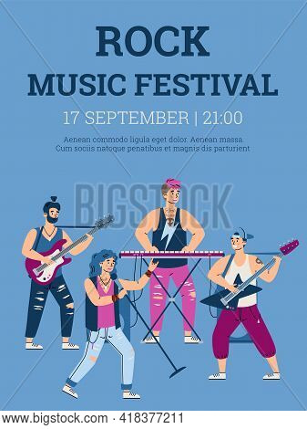Rock Music Festival Poster With Rock Band, Cartoon Vector Illustration.