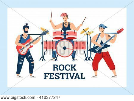 Rock Festival Banner With Musicians Of Rock Band, Flat Vector Illustration.