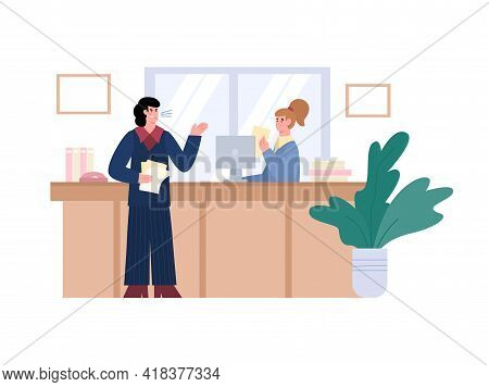 Angry Aggressive Boss Shouting On Employee, Flat Vector Illustration Isolated.