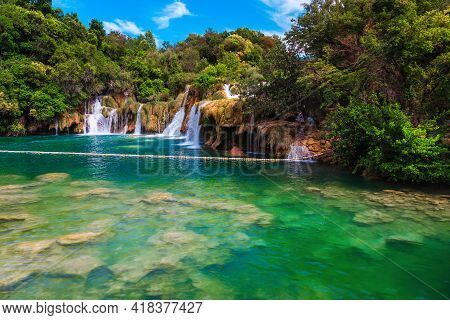 Famous Beach And Touristic Place With Majestic Waterfalls And Transparent Clean Lake, Krka National