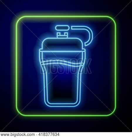 Glowing Neon Fitness Shaker Icon Isolated On Blue Background. Sports Shaker Bottle With Lid For Wate