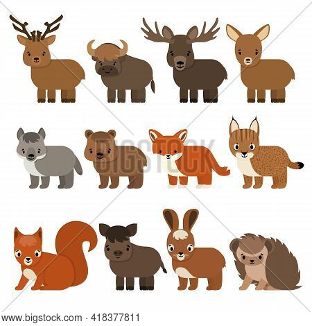 Set Of Cartoon Animals Of The Forest And Taiga, Flat Style. Vector Isolated Illustration On White Ba