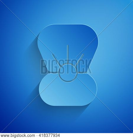 Paper Cut Natural Open Shell With Pearl Icon Isolated On Blue Background. Scallop Sea Shell. Seashel
