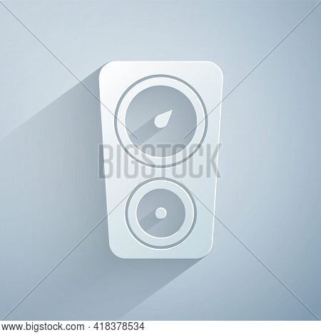 Paper Cut Gauge Scale Icon Isolated On Grey Background. Satisfaction, Temperature, Manometer, Risk,