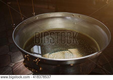 Orthodox Church.the Ceremony Of Infant Baptism.baptismal Font. Religion