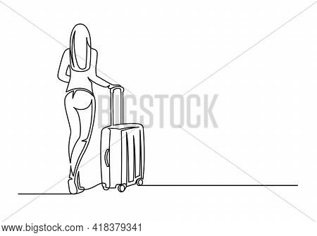 Young Woman With Suitcase Continuous One Line Drawing. Travel Concept. Woman Traveler And Suitcase I