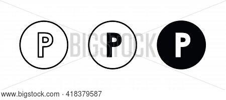P Letter Logo, Letter P Icons Button, Vector, Sign, Symbol, Illustration, Editable Stroke, Flat Desi