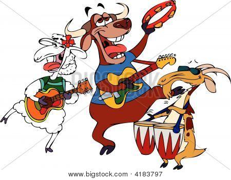 Cartoon Music Band Hornies