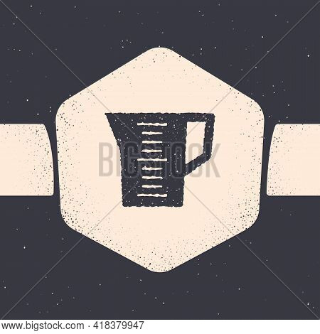 Grunge Measuring Cup To Measure Dry And Liquid Food Icon Isolated On Grey Background. Plastic Gradua