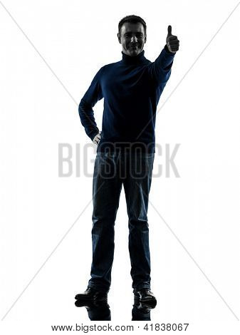 one causasian man thumb up full length in silhouette studio isolated on white background