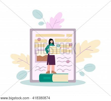 Woman Makes Text Revision Or Grammar Editing, Flat Vector Illustration Isolated.