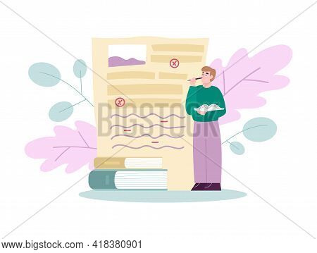 Grammar Editor Or Proofreader Concept, Cartoon Vector Illustration Isolated.
