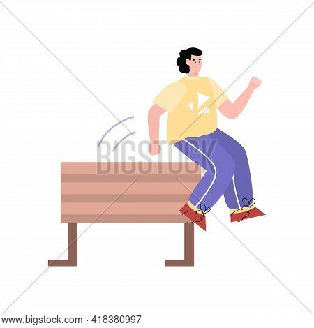 Man Cartoon Character Jumping Over Obstacle, Flat Vector Illustration Isolated.