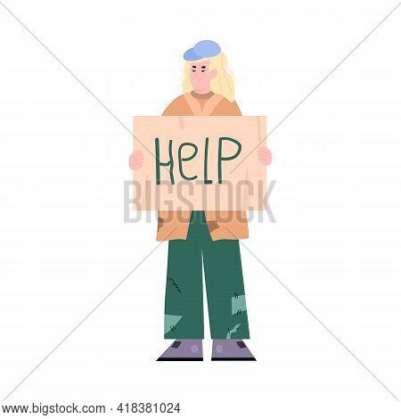 Homeless Poor Man Asking For Help, Flat Vector Illustration Isolated On White.
